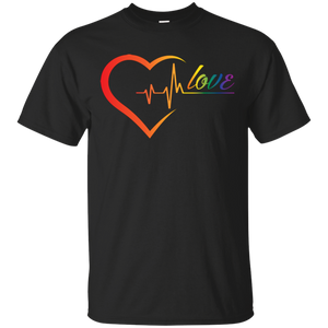 Rainbow Heartbeat Love Shirt Gay Pride grey tshirt for men