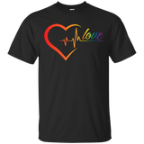 Rainbow Heartbeat Love Shirt Gay Pride black tshirt for men