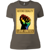"""Defend Equality, Love Unites"" Gay Pride T-shirt Warm Gray Color Roun-Neck Half-Sleeves Digital Print T-shirt"