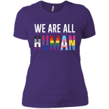 We Are All Human purple T Shirt for women, half sleeves round neck tshiart for women