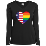 Gay Pride USA Flag Love v-neck full sleeves black women Shirt LGBT Pride USA Flag tshirt for women