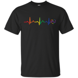 Rainbow Heartbeat black round neck tshirt