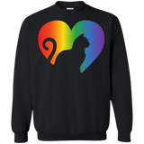 Rainbow Cat Heart LGBT Pride black unisex sweatshirt | Affordable LGBT  sweatshirt for pet lovers
