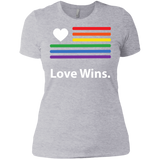 """LGBT Flag Love Wins"" Grey Pride Shirt for women LGBT Flag printed shirt for women"
