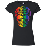 Rainbow Skull black T Shirt for women  LGBT Pride Tshirt