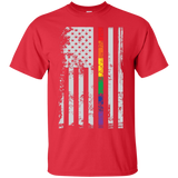 Rainbow Pride USA Flag Strip red T Shirt for men