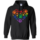 Rainbow Paw Print Love black unisex sweatshirt