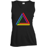 Funky Gay Pride Black Sleeveless Shirt for Women Rainbow Triangle Gay Pride Tshirt for Women