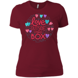Love Outside The Box maroon tshirt for women LGBT Pride women round neck maroon tshirt