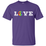 Love Peace Gay Pride purple T- Shirt Gay Pride Sport tshirt