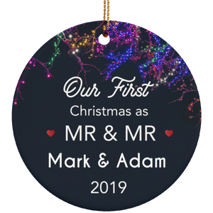Our Christmas As Mr & Mr Ceramic Circle Ornament