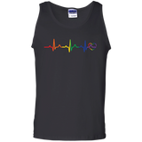 aRainbow Heartbeat Men's black Tank Top gay Pride Tank top