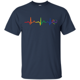 Rainbow Heartbeat blue LGBT Pride tshirt for men