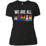 We Are All Human black T Shirt for women, half sleeves round neck tshiart for women