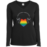 Listen to Your Heart LGBT Pride black full sleeves vneck tshirt for women