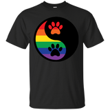 Rainbow Paw Yin Yang Pet black Shirt For Men gay Pride Black Tshirt