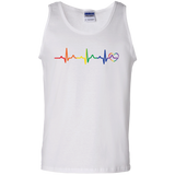 Rainbow Heartbeat Gay Pride Men's white Tank Top