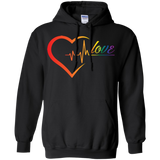 Rainbow Heartbeat Love Grey Hoodie for men & women Gay Pride Black Hoodie for men & women