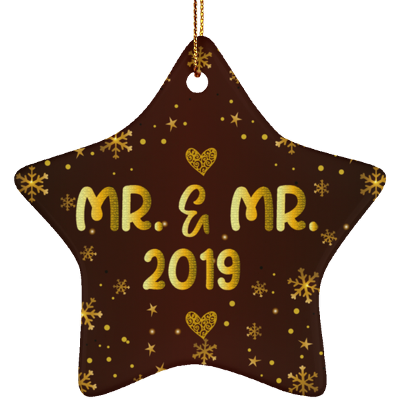 Mr and Mr 2019 LGBT Pride Ceramic Star Christmas Ornament Gift For Gay Couple