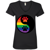 Rainbow Paw Yin Yang Pet black v-neck Shirt For women LGBT Pride Black v-neck Tshirt for Women
