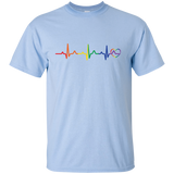 Rainbow Heartbeat gay pride skyblue round neck Men's tshirt