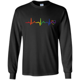 Rainbow Heartbeat Gay Pride Black full sleeves T Shirt for Men