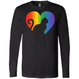 Rainbow Cat Heart LGBT Pride black full sleeves mens tshirt | Affordable LGBT  tshirt for pet lovers