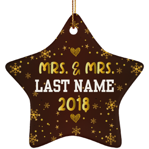 Personalized Mrs and Mrs 2018 LGBT Pride Ceramic Star Christmas Ornament Gift For Lesbian, Gay Couple