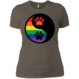 Rainbow Paw Yin Yang Pet Shirt For women LGBT Pride Tshirt for Women