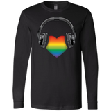 Listen to Your Heart LGBT Pride black full sleeves round neck tshirt for men