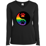 Rainbow Paw Yin Yang Pet long sleeves v-neck Shirt For women LGBT Pride Tshirt for Women
