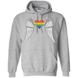 Gay Pride Guardian Angel black unisex grey hoodie LGBT Guardian Angel unisex grey hoodie