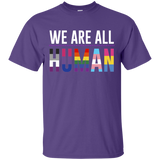 We Are All Human purple T Shirt for men, half sleeves round neck tshirt for men