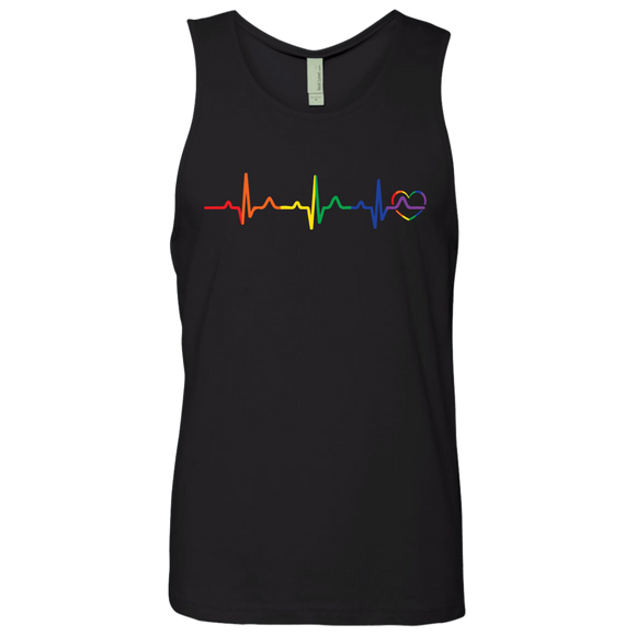 Rainbow Heartbeat Men's black Tank Top gay Pride Tank top
