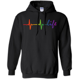 Rainbow Life Heartbeat Black Hoodie for Men & Women LGBT Pride Black Hoodie for Men & Women