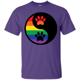 Rainbow Paw Yin Yang Pet purple Shirt For Men LGBT Pride Tshirt for Men