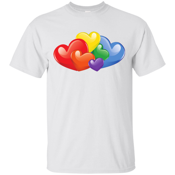 Vibrant Heart Gay Pride White T Shirt for Men  LGBT Pride Tshirt for Men