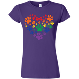 Rainbow Paw Print Love purple round neck tShirt for women