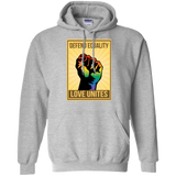 """Defend Equality, Love Unites"" Gay Pride Hoodie Gray Color Round Neck Full Sleeves Digital Print Hoodie"