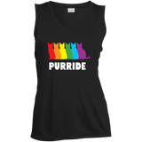 PURRIDE....Pride black sleeveless tshirt for women | pet lover tshirt