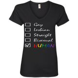 Human Check Box LGBT Pride black T Shirt for Women Human Equality LGBT Pride black Tshirt for Women