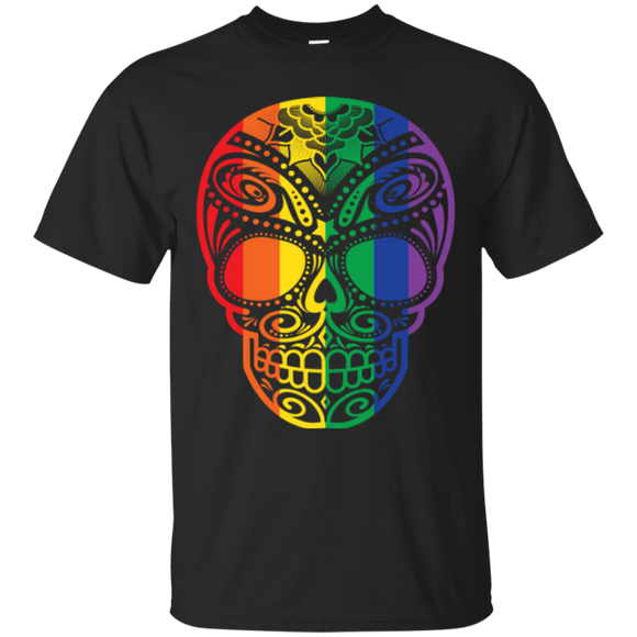 Rainbow Skull black T Shirt for men LGBT Pride black tshirt