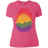 Gay Pride Thumb Print  pink T-Shirt for Women's Rainbow Thumb print women's tshirt