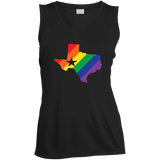 LGBT Pride texas print on black sleeveless women tshirt