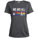 We Are All Human dark grey T Shirt for women, half sleeves round neck tshiart for women
