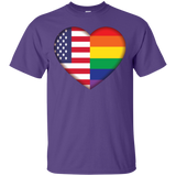 Gay Pride USA Flag Love purple Shirt LGBT Pride USA Flag tshirt for men