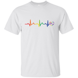 Rainbow Heartbeat gay pride white  Men's tshirt