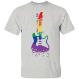"Rainbow Guitar ""Love + Music = Life"" Pride grey T Shirt for music lover"