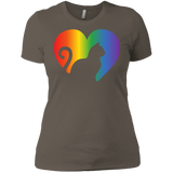 Rainbow Cat Heart LGBT Pride tshirt for womens | Affordable LGBT black round neck tshirt for pet lovers