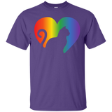Rainbow Cat Heart LGBT Pride purple round neck Shirt for men | Affordable LGBT T-shirt